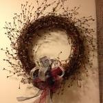 Wreath, Red, Antique White and Blue..