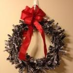 Rag Wreath, Black and White with Re..