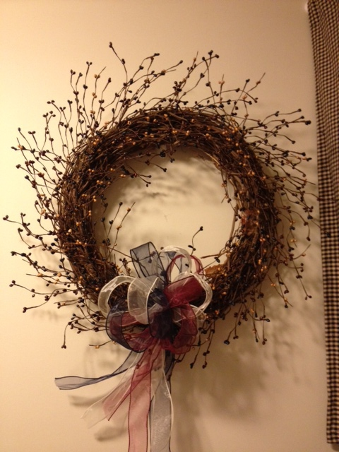 Wreath, Red, Antique White and Blue Berries