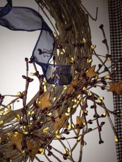 Primitive Patriotic Wreath, Burgundy and Cream Berries with Rustic Stars