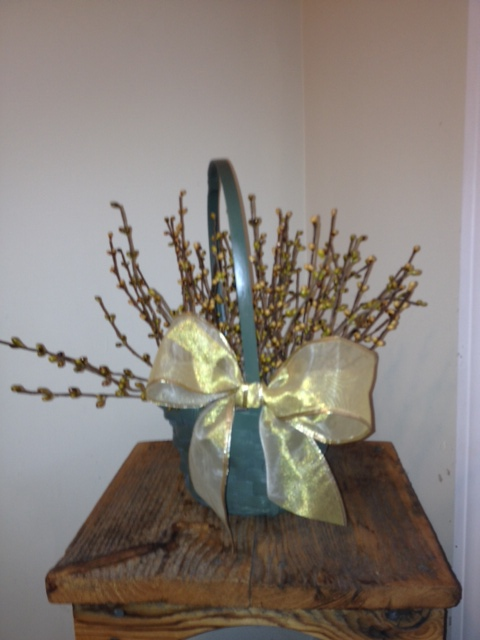 Berry Basket, Sage, Cream & Gold